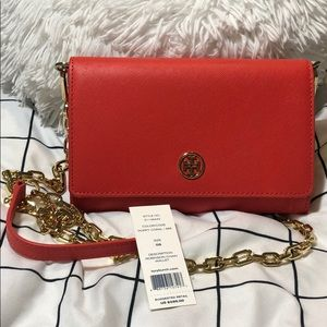 Authentic Leather Cross-body w/ chain strap